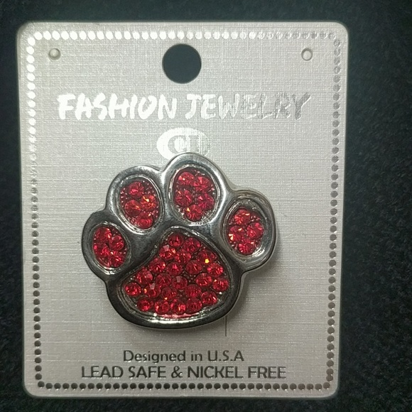 Red And Silver Paw Print Lapel Pin